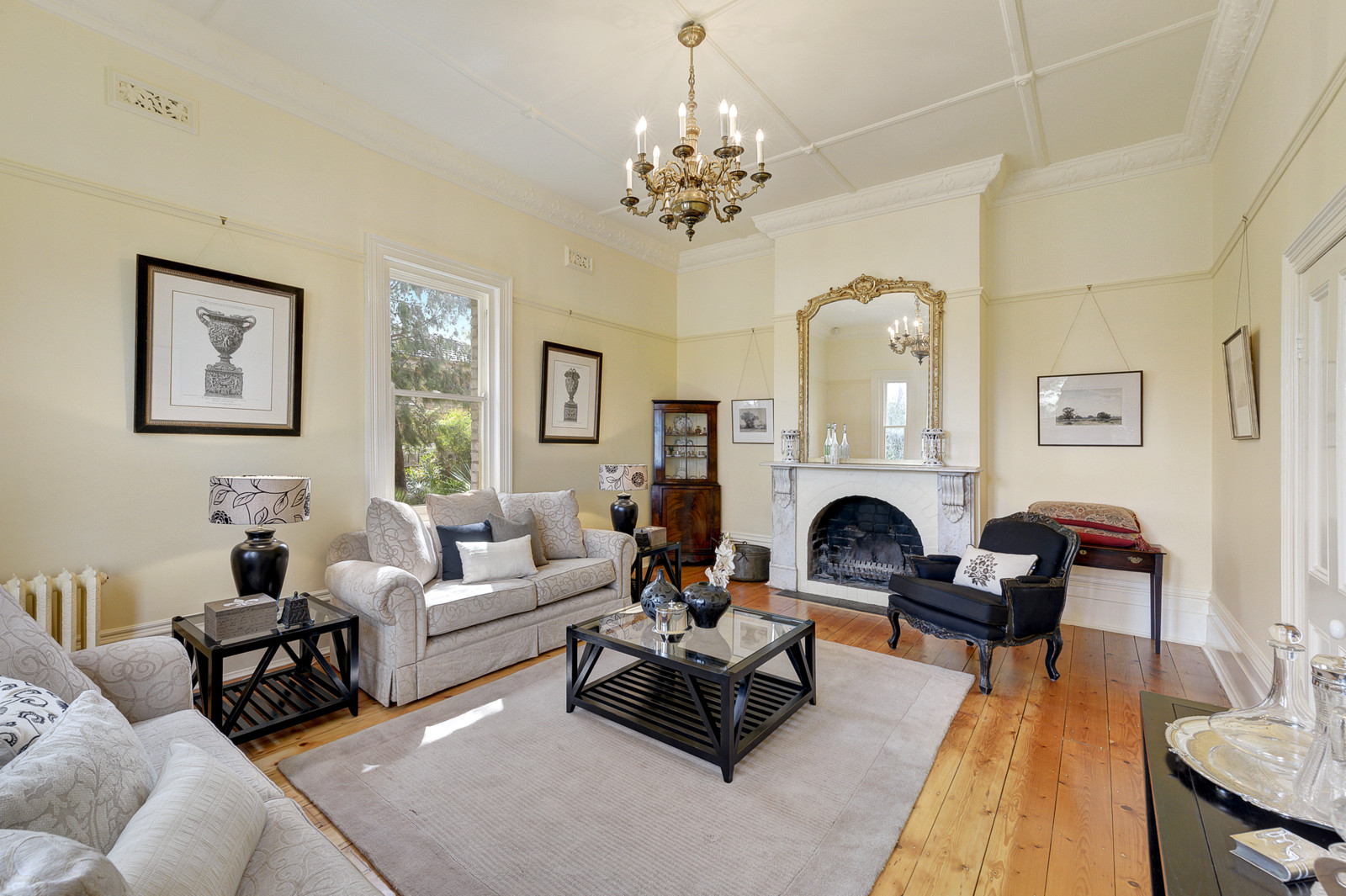 Melbourne Home Details home styling black and beige period lounge